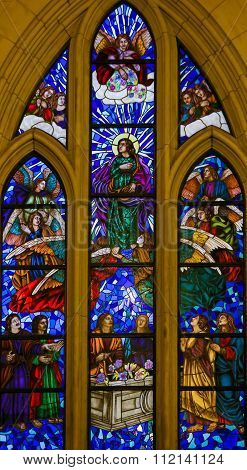 Stained Glass Of Saint John The Evangelist In Madrid Cathedral