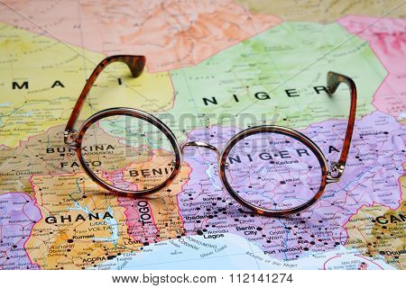 Glasses on a map - Abuja