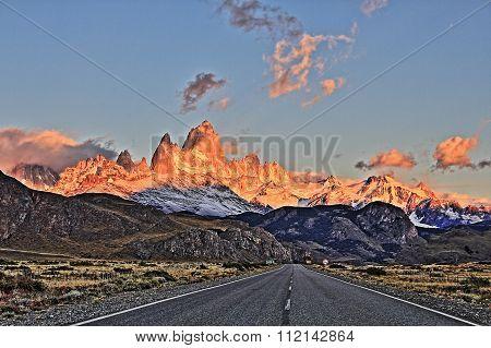 HDR Patagonia road at sunrise