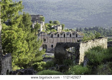 Abandoned Orthodox Church Ruins In Kayakoy Village At South Of Fethiye In Southwestern Of Turkey
