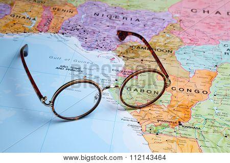 Glasses on a map - Gabon