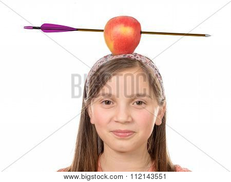 Girl With Apple On His Head With Arrow Shot Through