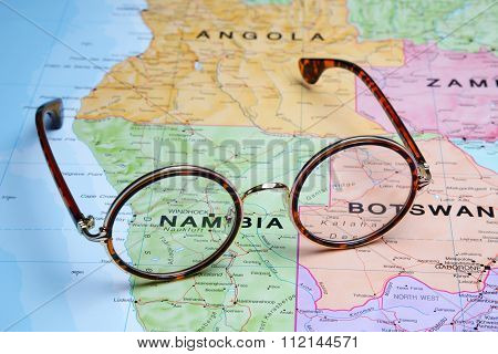 Glasses on a map - Windhoek