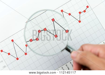 Magnifying Glass Over Financial Graph