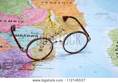 Glasses on a map - Mozambique