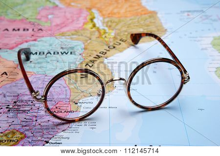 Glasses on a map - Maputo