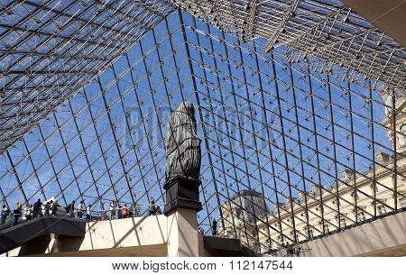 Entrance To The Louvre  Through The Glass Pyramid