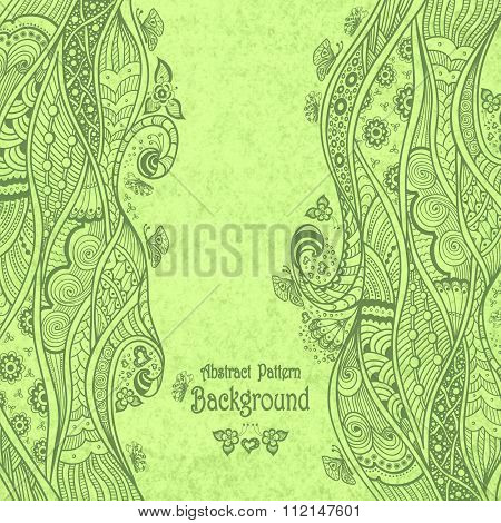 Handmade Abstract pattern background in Zen-doodle style on grunge green