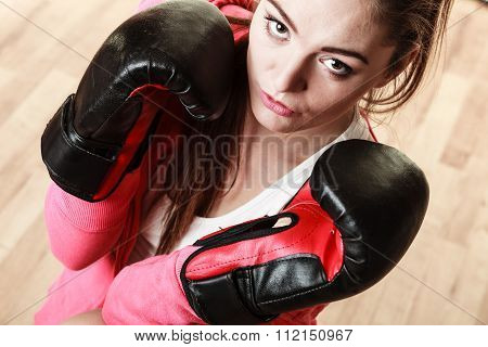 Fit Sporty Woman Boxing