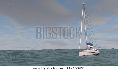 yacht with no sales in the sea