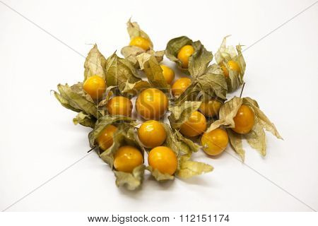 Fresh berry of cape goose berries on a white background