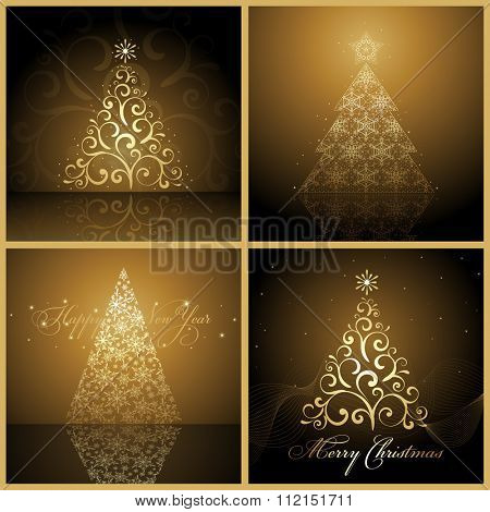Set of Vector new year tree / Christmas tree