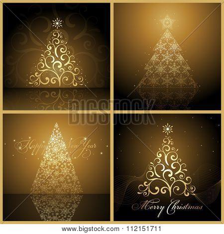 Set of Vector new year tree / Christmas tree