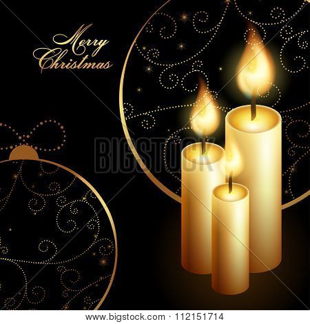 Merry Christmas with tree candles, vector