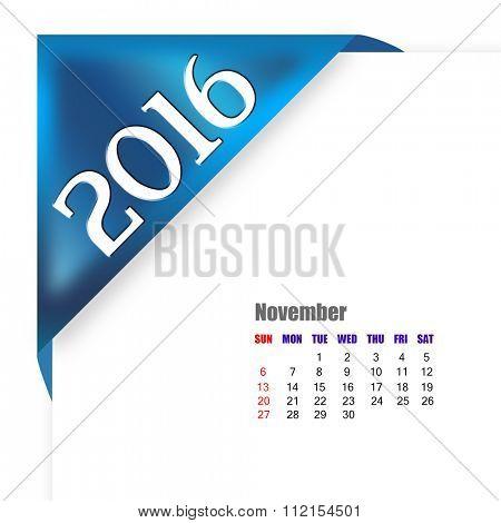 2016 November calendar