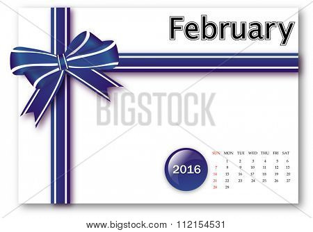 February 2016 - Calendar series with gift ribbon design
