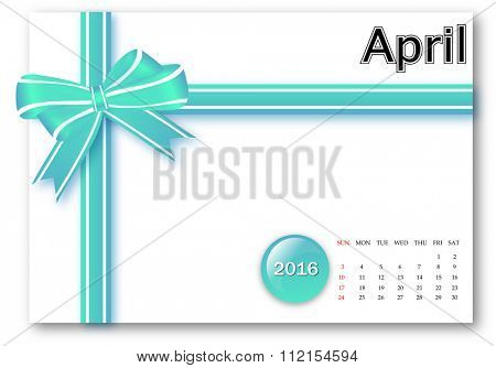 April 2016 - Calendar series with gift ribbon design