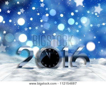 2016 in snowy ground on a bokeh lights and stars background