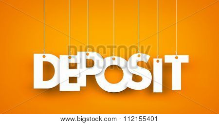 Deposit - word hanging on the string
