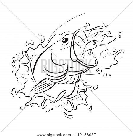 Drawing fishing, vector