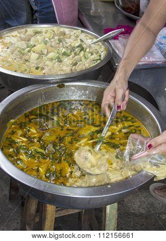 Serving Thai Green Curry