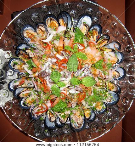 Plate Of Mussels, Prawns And Squid