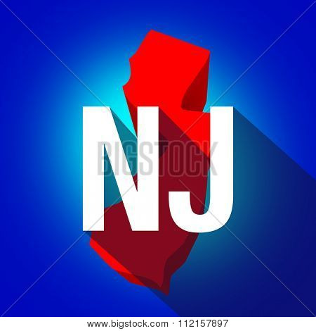 New Jersey NJ letters on a 3d map of the state as part of the USA United States of America, with long shadow