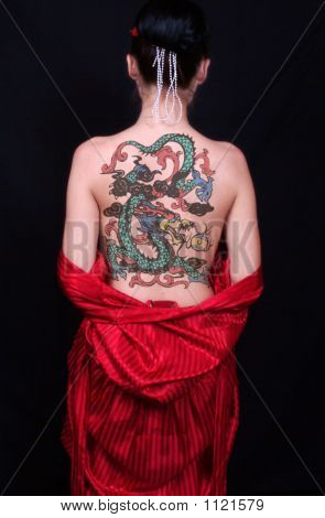 Asiatische Rücken Tattoo