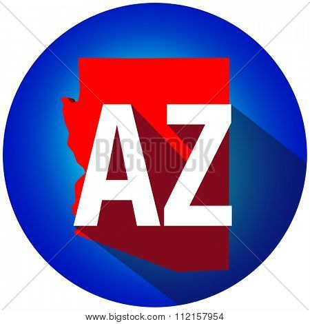 Arizona AZ letters on a 3d map of the state as part of the USA United States of America, with long shadow