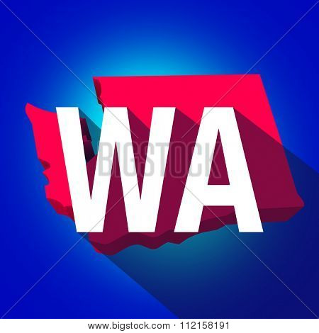 Washington WA letters on a 3d map of the state as part of the USA United States of America, with long shadow