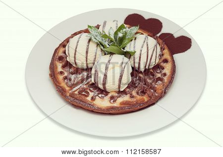 Viennese Waffles With Four Balls Of Vanilla Ice Cream And Mint