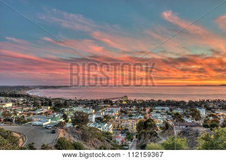 Vibrant sky over coast town
