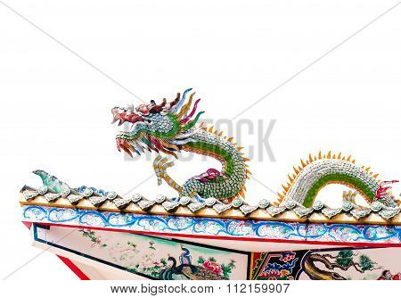 Dragon Statue On The Roof In White Background