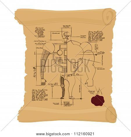 Ancient Drawing Cyborg On Yellow Scroll. Cyber Construction Man Of  Future On An Ancient Papyrus. Od
