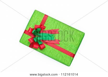 Green Gift Box With Red And Green Ribbons Bow
