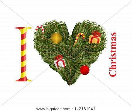 I Love Christmas. Symbol Of Heart Of Fir Branches. Gift With Red Ribbon And Christmas Toys. Conifer