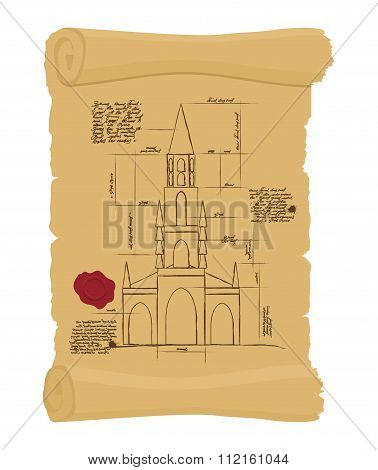 Berne Cathedral On Old Paper Scheme. Ancient Scroll.  Scheme Of Ancient Architectural Buildings In S