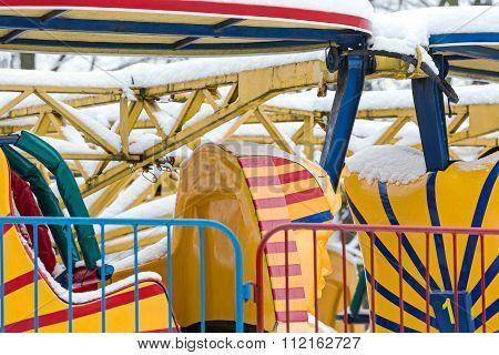 Empty Roller Coaster Cabin In Amusement Park