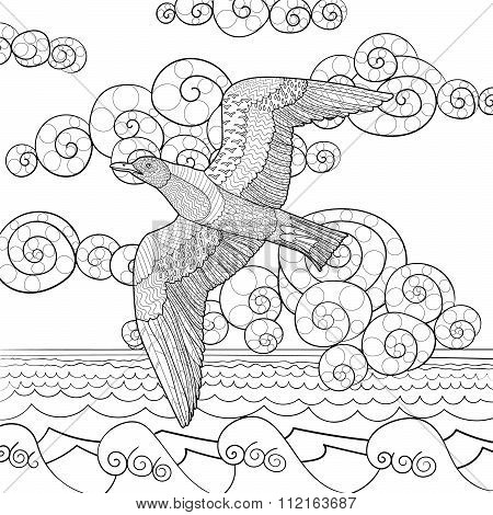 Antistress coloring page with seagull.