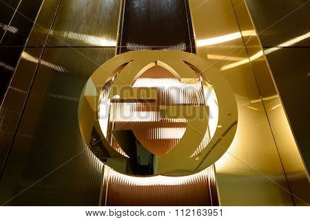 SINGAPORE - NOVEMBER 07, 2015: Gucci sign in The Shoppes at Marina Bay Sands. Gucci is an Italian fashion and leather goods brand