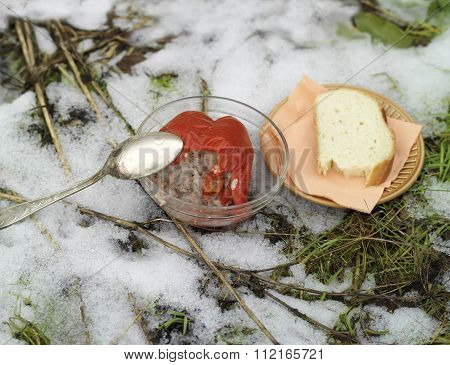 Unfinished Dinner On Snow