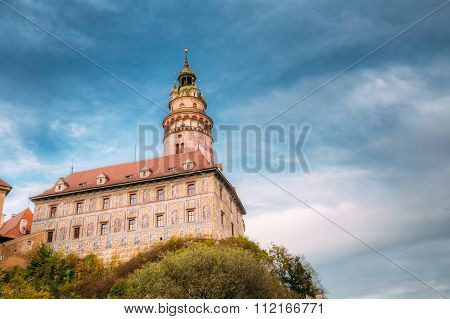Medieval Castle tower in Cesky Krumlov, Czech republic.