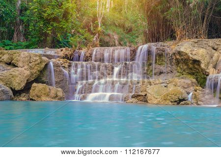Waterfall In Rain Forest (tat Kuang Si Waterfalls At Luang Prabang.)