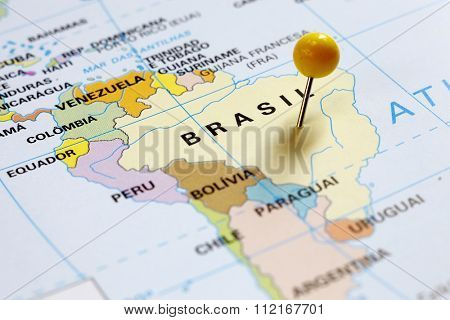 Map of South America, Brazil