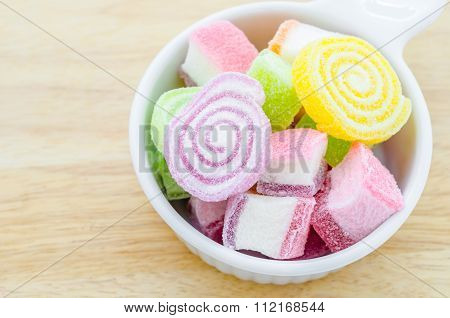 Colorful Sweet Jellies With Sugar In Cup.