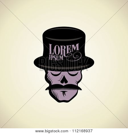 Art logo with hipster skull dressed in cylinder hat.