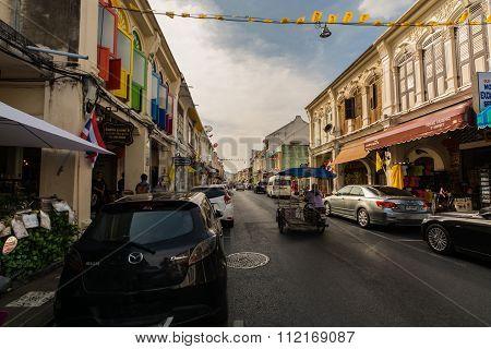 Phuket Thailand - Circa December 2015 : Street Of Old Town, Phuket, Thailand
