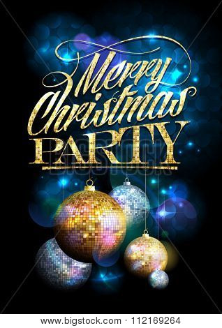 Merry Christmas party design with fur tree golden and silver mosaic balls.