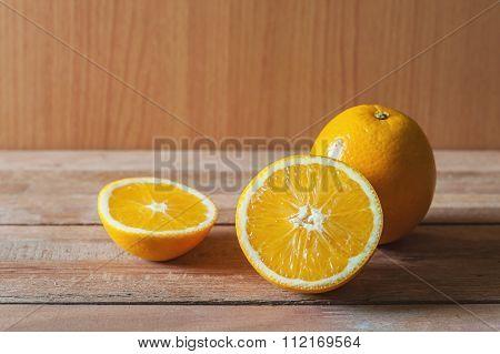 Orange Fruit And Slice In Still Life Tone
