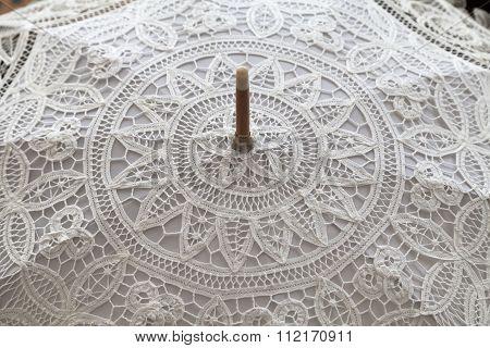 Handmade White Lace Umbrella, Close Up